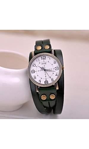 GSPStyle Unisex Uhr Lederarmband Retro Damenuhr Herrenuhr Armbanduhr Quarzuhr Unisex Uhren Farbe Gruen