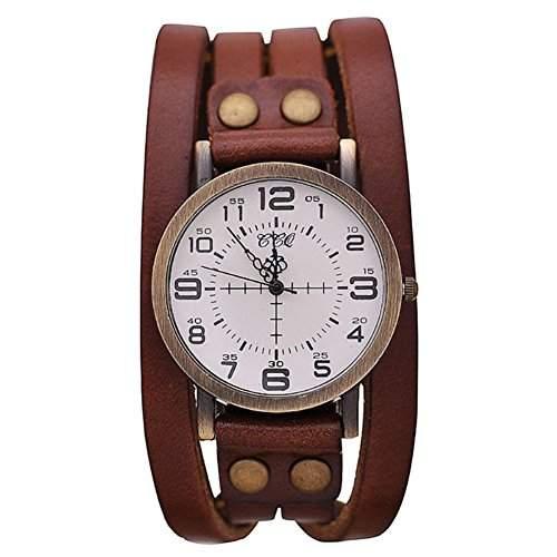GSPStyle Unisex Uhr Lederarmband Retro Damenuhr Herrenuhr Armbanduhr Quarzuhr Unisex Uhren Farbe Hellbraun