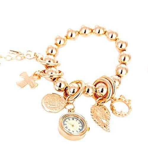 GSPStyle Damen Uhr Edelstahl Damenuhr Armbanduhr Quarzuhr Kaiserkrone Anhaenger Uhren Bracelets 4946