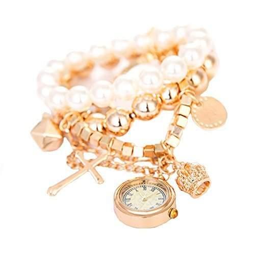 GSPStyle Damen Uhr Edelstahl Damenuhr Armbanduhr Quarzuhr Kuenstliche Perlen Anhaenger Uhren Bracelets 4947