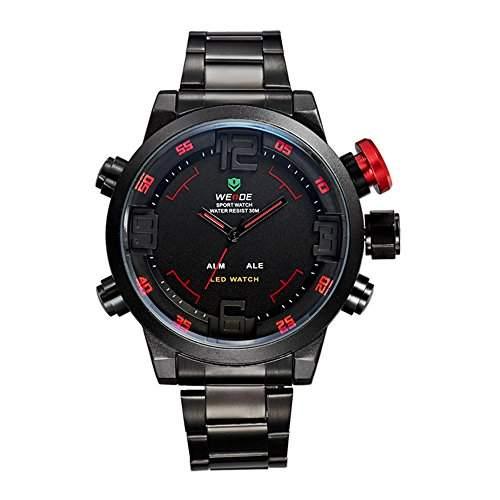 GSPStyle Herrenuhr Dual Quarz Uhren LED Digital Armbanduhr Quarzuhr Farbe Rot