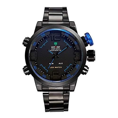 GSPStyle Herrenuhr Dual Quarz Uhren LED Digital Armbanduhr Quarzuhr Farbe Blau
