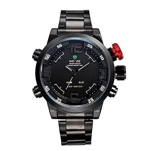 GSPStyle Herrenuhr Dual Quarz Uhren LED Digital Schwarz Armbanduhr Quarzuhr Farbe Weiss