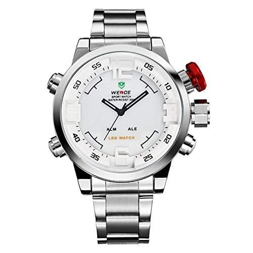 GSPStyle Herrenuhr Dual Quarz Uhren LED Digital Armbanduhr Quarzuhr Farbe Weiss