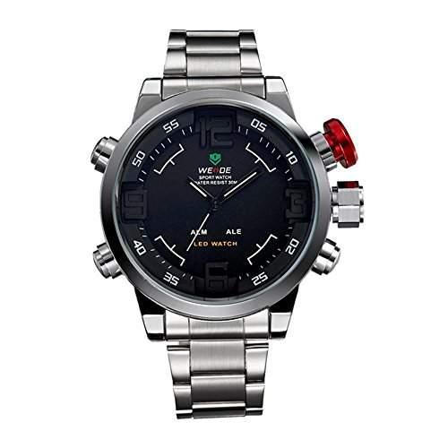 GSPStyle Herrenuhr Dual Quarz Uhren LED Digital Armbanduhr Quarzuhr Farbe Schwarz