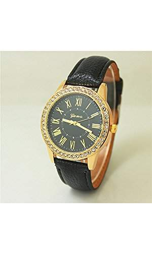 GSPStyle Damen Uhr Armbanduhr Quarzuhr Elegant Strasssteine Damenuhren Farbe Schwarz