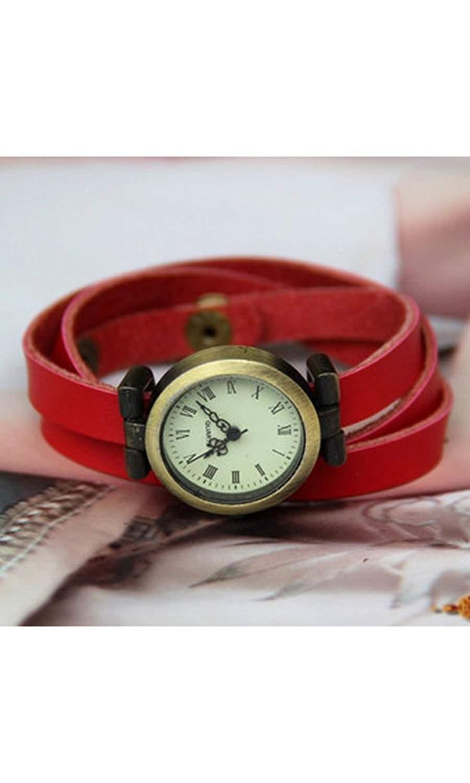 GSPStyle Damen Uhr Armbanduhr Quarzuhr Elegant Leder Armband Damenuhren Farbe Rot