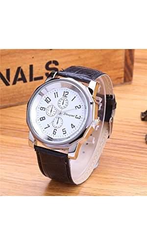 GSPStyle Unisex Armbanduhr Quarzuhr 3-dekoriert Zifferblatt Quarz Uhren Damenuhr Herrenuhr Farbe Schwarz