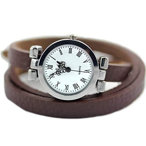 GSPStyle Damen Uhr Armbanduhr Quarzuhr Retro Stil Leder Armband Damenuhren Farbe Braun