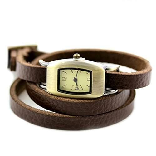 GSPStyle Damen Uhr Armbanduhr Quarzuhr Mode Echt Leder Armband Damenuhren Farbe Braun