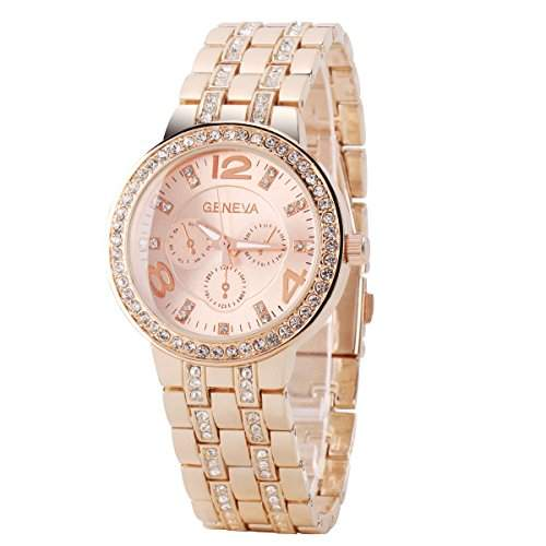 GSPStyle Damen Edelstahl Quarz Uhren Elegant Armbanduhr Strass Dekoration Farbe Rose Gold
