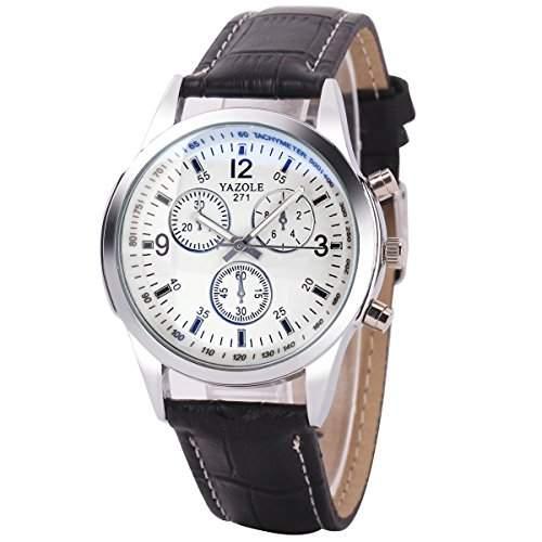 GSPStyle Herrenuhr Quarz Armbanduhr 3-dekorativ Zifferblatt Analog Uhren Farbe weiss mit Schwarz