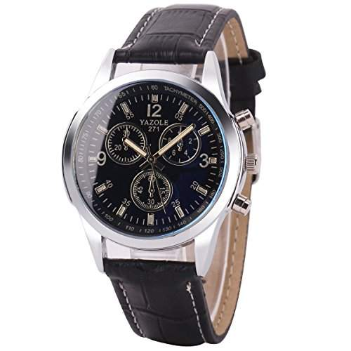 GSPStyle Herrenuhr Quarz Armbanduhr 3-dekorativ Zifferblatt Analog Uhren Farbe Schwarz