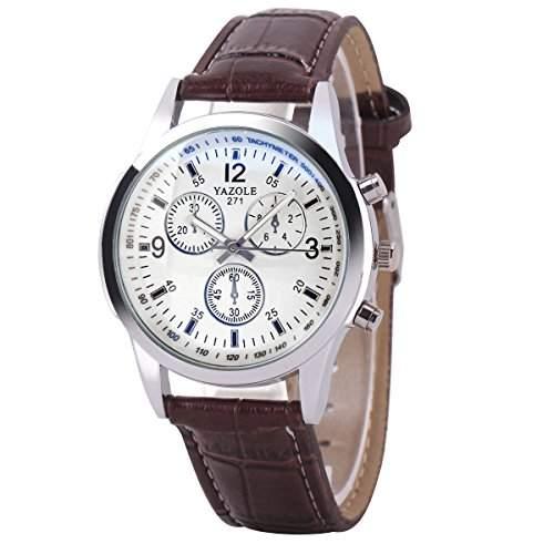 GSPStyle Herrenuhr Quarz Armbanduhr 3-dekorativ Zifferblatt Analog Uhren Farbe weiss mit Braun