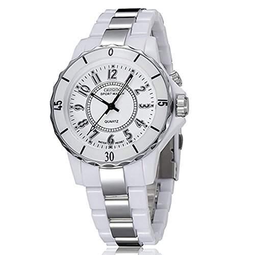 GSPStyle Herrenuhr Damenuhr Bunt LED Beleuchtete Armbanduhr Uhren Quarzuhr Farbe weiss