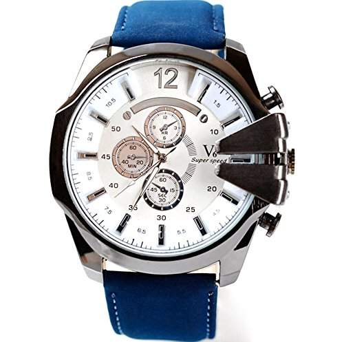 GSPStyle Herrenuhr Quarz Armbanduhr 3-dekorativ Zifferblatt Analog Sport Uhren Farbe blau weiss