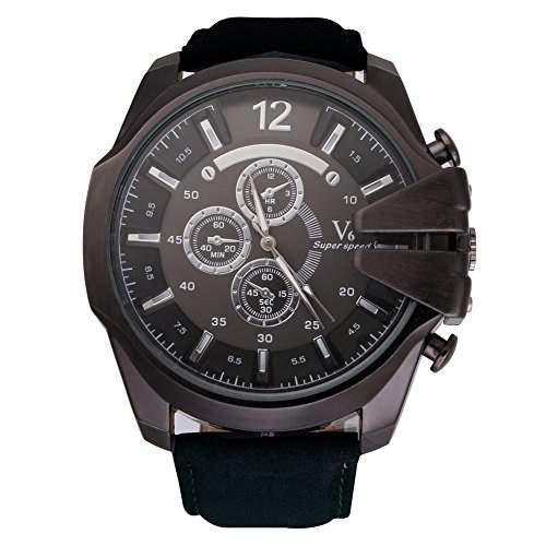 GSPStyle Herrenuhr Quarz Armbanduhr 3-dekorativ Zifferblatt Analog Sport Uhren Farbe schwarz