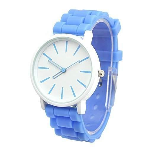 GSPStyle Damen Armbanduhr Silikon Quarz Uhren Analog Kinderuhren Damenuhr Farbe Hellblau