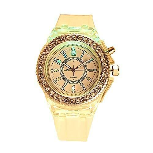 GSPStyle Damen Armbanduhr Silikon Quarz Uhren LED Leuchtende Strass Dekor Analog Quarzuhr Farbe Weiss
