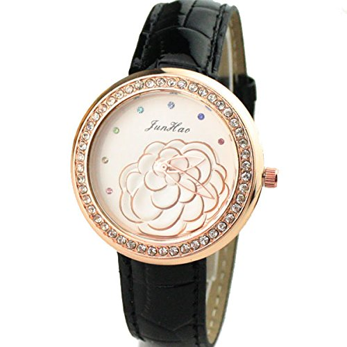 GSPStyle Damen Armband Quarz Uhren Armbanduhr Quarzuhr Blumen Pattern Strass Analog Farbe Schwarz