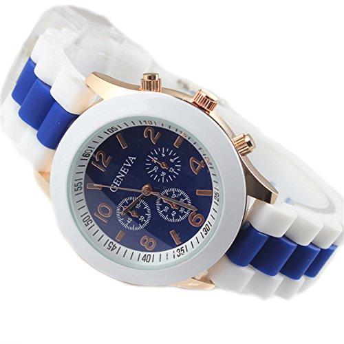 GSPStyle Unisex Silikone Armbanduhr Quarzuhr 3 dekoriert Zifferblatt Jugenduhren Farbe Blau