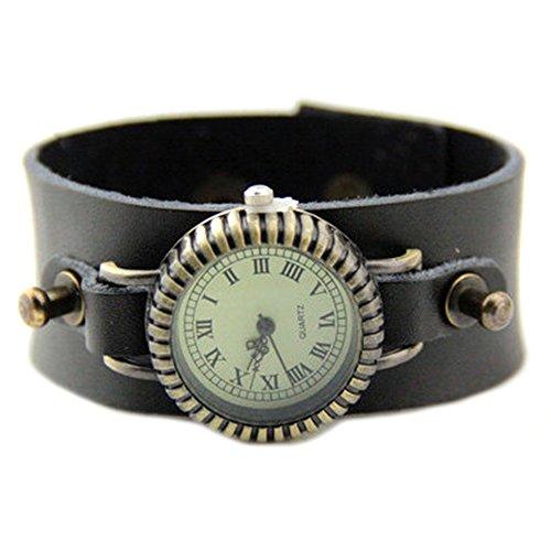 GSPStyle Armbanduhr Quarzuhr Unisex Leder Armband Farbe Schwarz