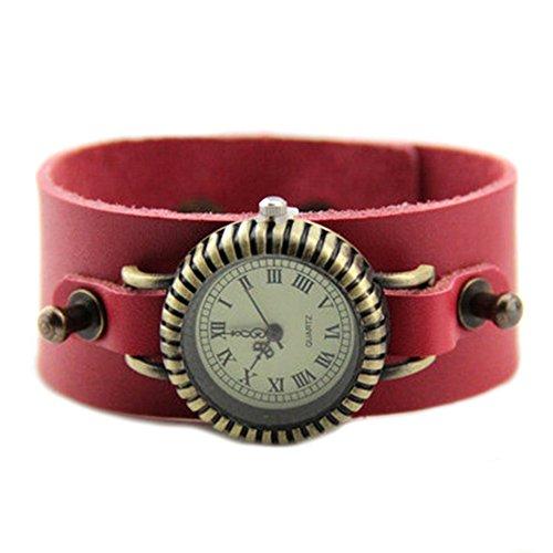 GSPStyle Armbanduhr Quarzuhr Unisex Leder Armband Farbe Rot