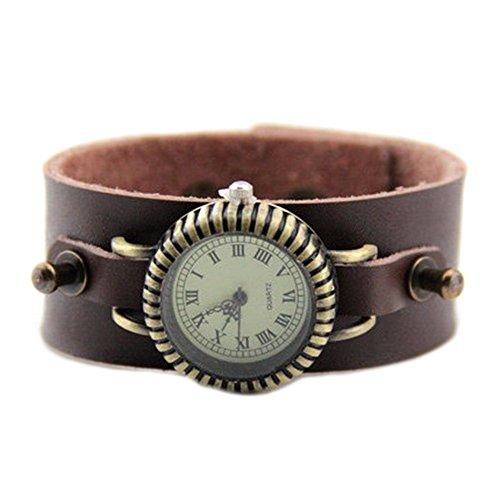 GSPStyle Armbanduhr Quarzuhr Unisex Leder Armband Farbe Kaffeebraun