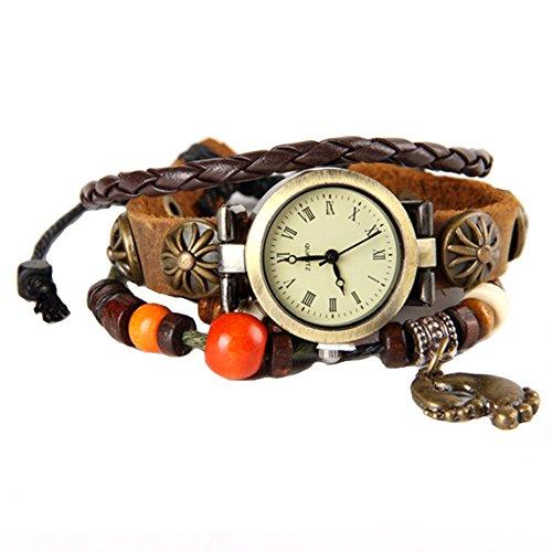 GSPStyle Leder Fusssohle Anhaenger Armbanduhr Maedchen Quarzuhr Farbe Braun
