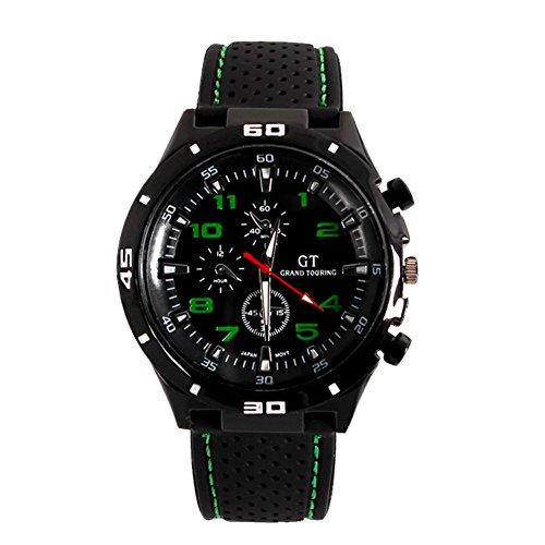 GSPStyle Silikon 3 dekorativ Zifferblatt Analog Uhren Farbe gruen