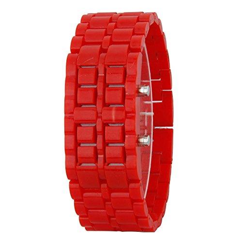 GSPStyle Unisex Blau LED Uhr Kunststoff Armbanduhr Quarzuhr Farbe Rot