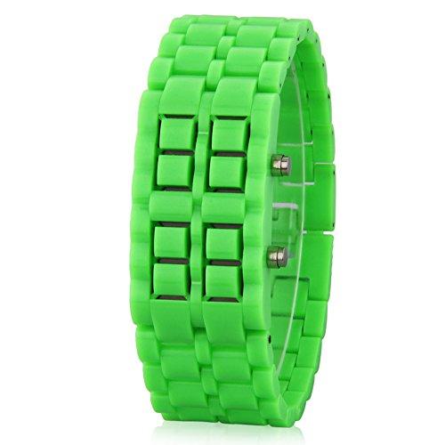 GSPStyle Unisex Blau LED Uhr Kunststoff Armbanduhr Quarzuhr Farbe Gruen