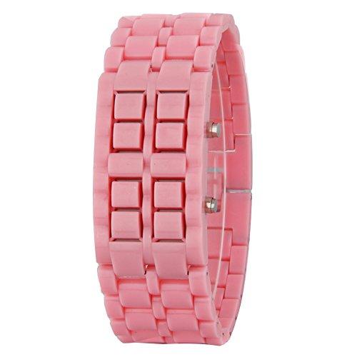 GSPStyle Unisex Blau LED Uhr Kunststoff Armbanduhr Quarzuhr Farbe Rosa