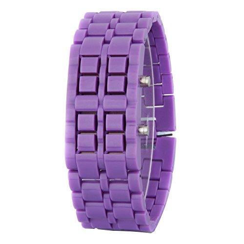 GSPStyle Unisex Rot LED Uhr Kunststoff Armbanduhr Quarzuhr Farbe Lila