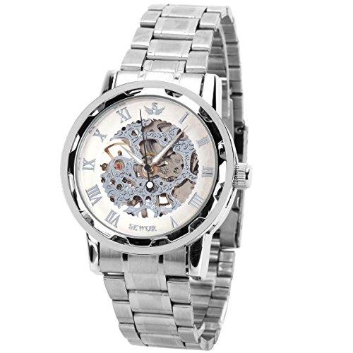 GSPStyle Edelstahl Armbanduhr Hohlen mechanischen Uhren Farbe weiss silbrig