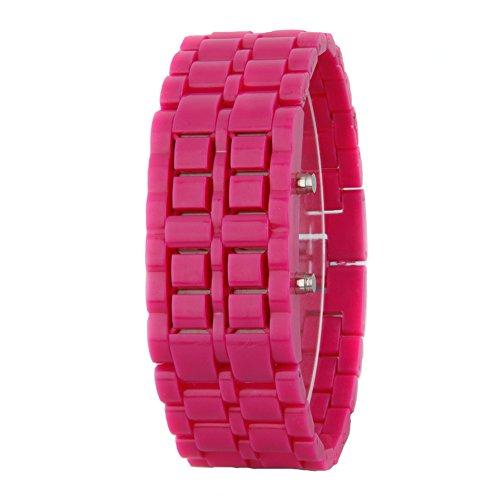 GSPStyle Unisex Rot LED Uhr Kunststoff Armbanduhr Quarzuhr Farbe Dukelrosa