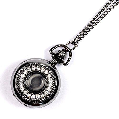 GSPStyle Damen Schwarz Katzenauge Strass Taschenuhr Anhaenger Halskette Quarz Uhren Schmuck