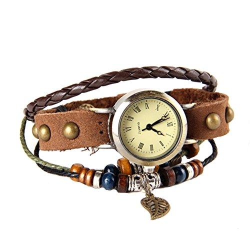 GSPStyle Lederarmband Blatt Anhaenger Armbanduhr Niet Quarzuhr Farbe Braun