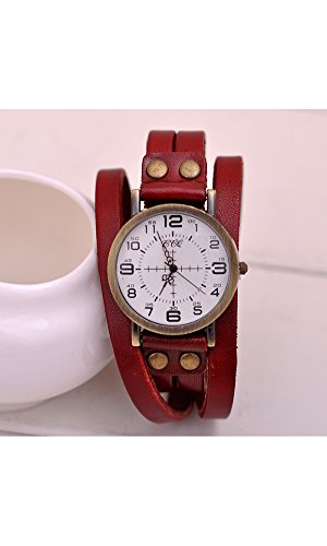 GSPStyle Unisex Uhr Lederarmband Retro Armbanduhr Quarzuhr Unisex Uhren Farbe Rot