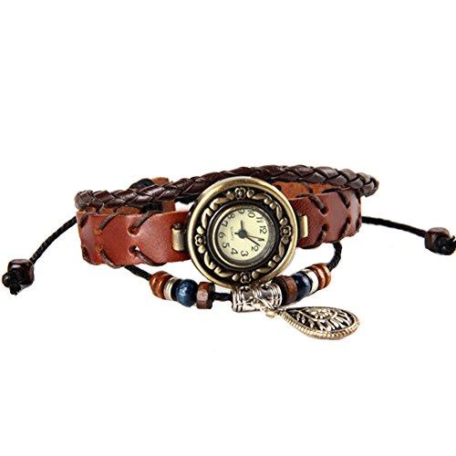 GSPStyle Lederuhr Anhaenger Armbanduhr Armreif Quarzuhr Farbe Braun