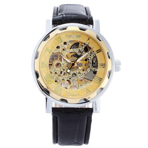 GSPStyle Herren Mechanische Uhren Skelett Edelstahl Armbanduhr Farbe Golden