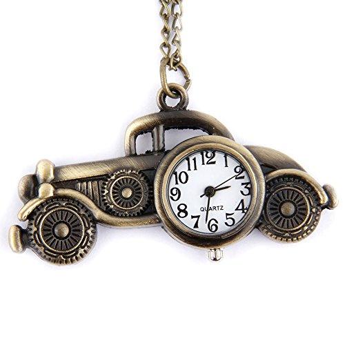 GSPStyle Unisex Taschenuhr Anhaenger Halskette Quarz Uhren Klassische Fahrzeuge Form Farbe Kupfer