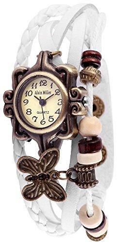 Alain Miller Retro Armbanduhr analoge Damenuhr weiss Quartz Uhrwerk