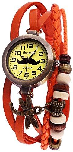 Alain Miller Retro Armbanduhr analoge Damenuhr orange Quartz Uhrwerk
