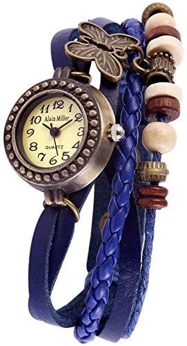 Alain Miller Armbanduhr Mintgruen Lederarmband 19cm Blau RP3705770003