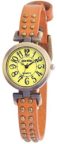 Alain Miller Armbanduhr Mintgruen Lederarmband 25cm Braun RP3715780001