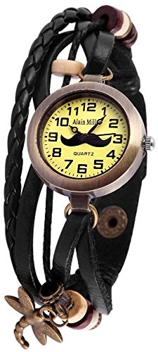 Alain Miller Uhr Mintgruen Lederarmband 19cm Schwarz RP3705760005