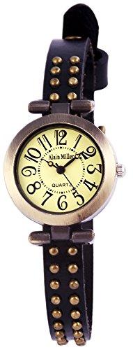 Alain Miller Uhr Mintgruen Lederarmband 25cm Schwarz RP3715760001