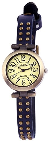 Alain Miller Uhr Mintgruen Lederarmband 25cm Dunkelblau RP3715770001
