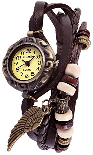 Alain Miller Damenuhr Armbanduhr Mintgruen Lederarmband Dunkelbraun RP3705780002